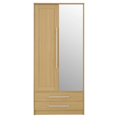 Kendal Double Wardrobe with Drawers, Oak Effect