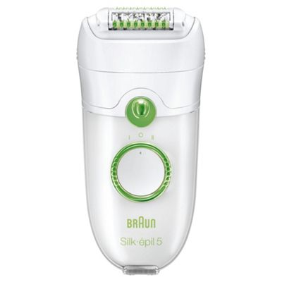Braun 5780 Silk-épil 5 Womens Leg Body and Face Hair Epilator with Glove, Shaver and Massage - White / Green