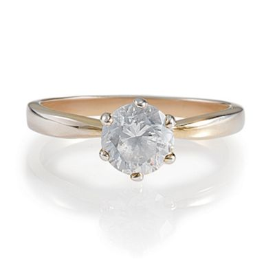 Gold Plated Silver Cubic Zirconia Solitaire Ring, S
