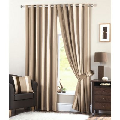 Dreams n Drapes Whitworth Natural Lined Eyelet Curtains - 90x90 Inches (229x229cm)