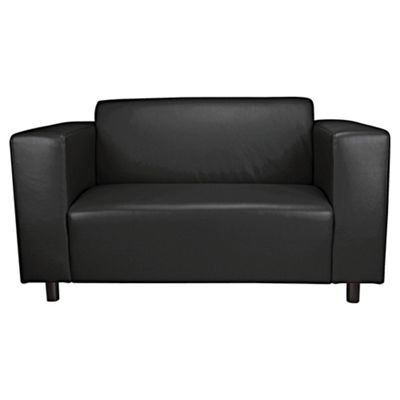 Stanza Small 2 Seater Faux Leather Sofa, Black