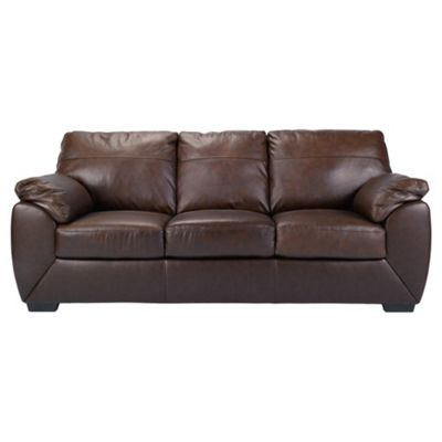Alberta Leather Large 3 Seater Sofa, Chocolate