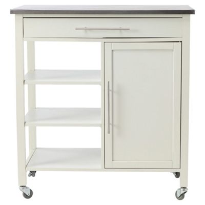 Trolley with Stainless Steel Top, White