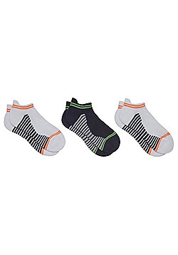 F&F 3 Pair Pack of Striped Cushioned Sole Sports Trainer Socks - Multi