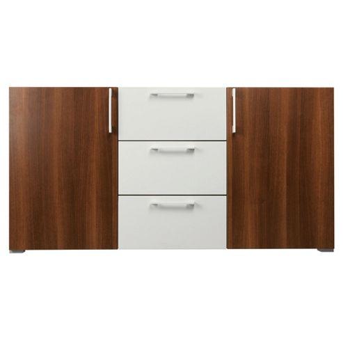 Como 3 Drawer 2 Door Sideboard, Walnut & White