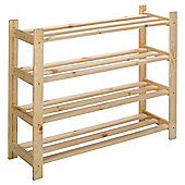 Solid Pine 4 Tier Shoe Rack