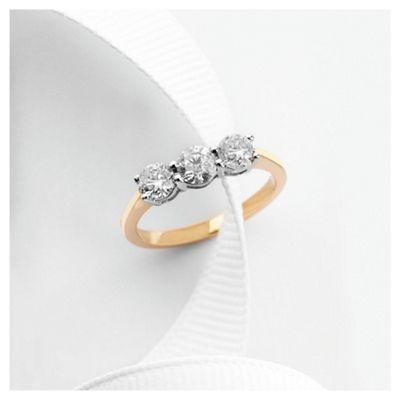 9ct gold 1ct diamond three stone ring, H