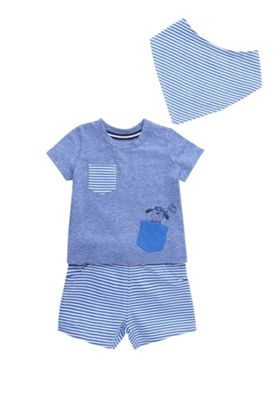 F&F Pirate Dog T-Shirt, Shorts and Bib Set Blue 0-3 months