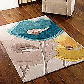 Infinite Modern Art Poppy Flowers Rugs in Teal Yellow80x150cm