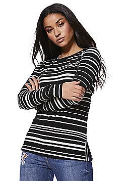 Noisy May Striped Side Split Top - Black & White