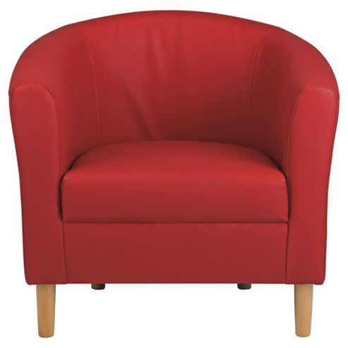 Tub Chair Faux Leather, Red