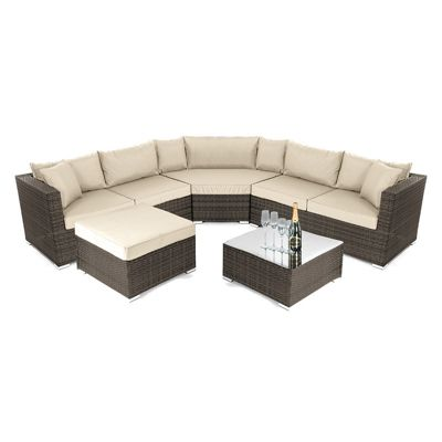 Nova - Hampton Rattan Corner Sofa Set - Brown