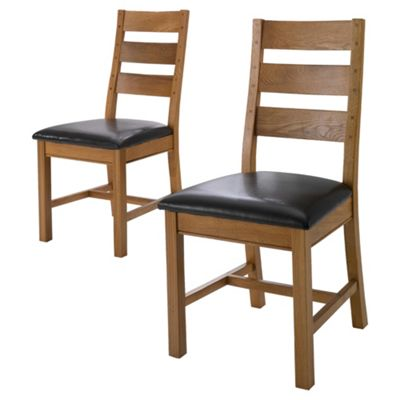 Ascot Pair Of Ladder Back Chairs, Oak