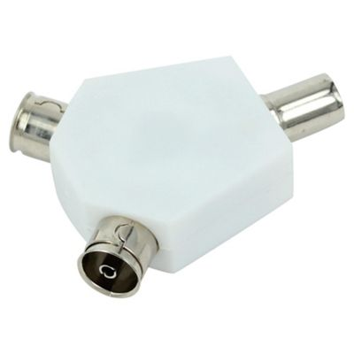 Tesco Aerial Coaxial Cable Splitter - White