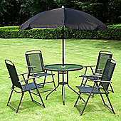 Outsunny 6PC Garden Furniture Set 4 + Table + Parasol - Black