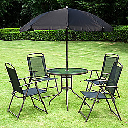 outsunny 6pc garden furniture set 4 table parasol black - Garden Furniture Nottingham
