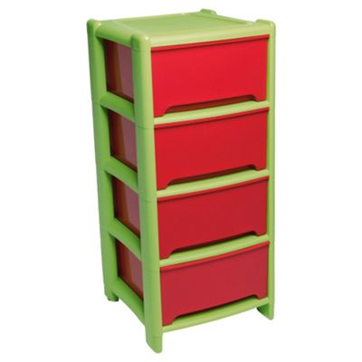Wham 4 drawer tower, red & green