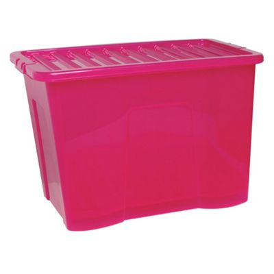 Pink 80L Plastic Storage Box