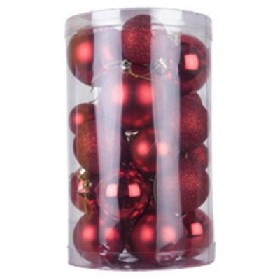 Tesco 30 Mixed Baubles - Red
