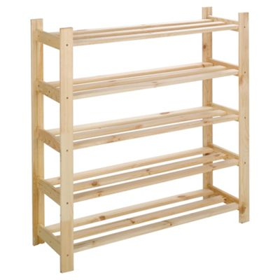 Tesco 5 Shelf Shoe Rack, Solid Pine