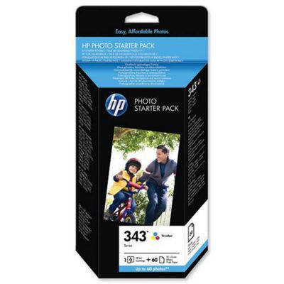 HP No.343 Series Photo Starter Pack with 1 x 343 Tri-Colour Cartridge + HP Premium Photo Paper (10x15cm borderless) 240 g/m2 60 Sheets