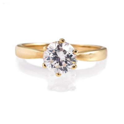14ct Gold Plated Silver Cubic Zirconia Solitaire Ring, N