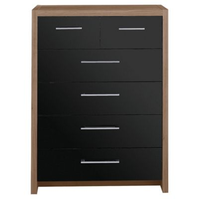 Manhattan 6 Drawer Chest, Walnut Effect/Black Gloss