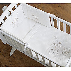 Obaby B is for Bear Crib Quilt and Bumper in White (Set of 2) - White