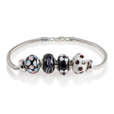 Sterling Silver Black Glass Bead Starter Bracelet