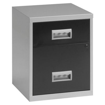 Pierre Henry A4 2 Drawer Combi Filing Cabinet With Castors, Silver With Black Drawers