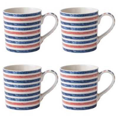 Johnson Brothers Set of 4 Ticking Stripe Mugs