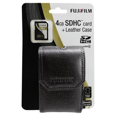 Fujifilm 4GB Memory Card and Black leather Camera Case