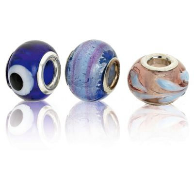 Sterling Silver Peacock Blue Glass Charm 3 Pack