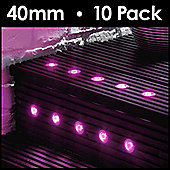 MiniSun Pack of 10 40mm Pink LED Decking Lights