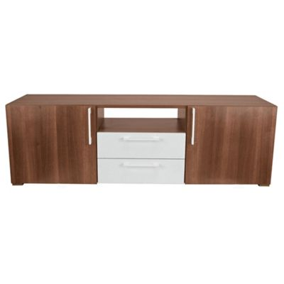 Como 2 Drawer 2 Door Tv Unit, Walnut & White Gloss