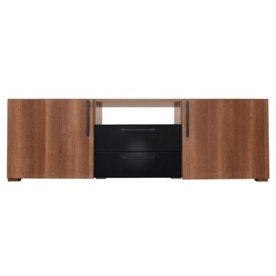 Como 2 Drawer 2 Door Tv Unit, Walnut & Black Gloss