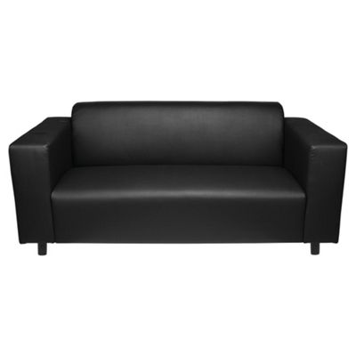 Stanza Medium 2 Seater Faux Leather Sofa, Black