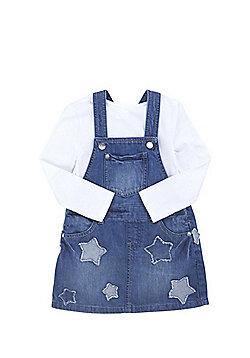 F&F Star Denim Pinafore and Long Sleeve T-Shirt Set - Denim