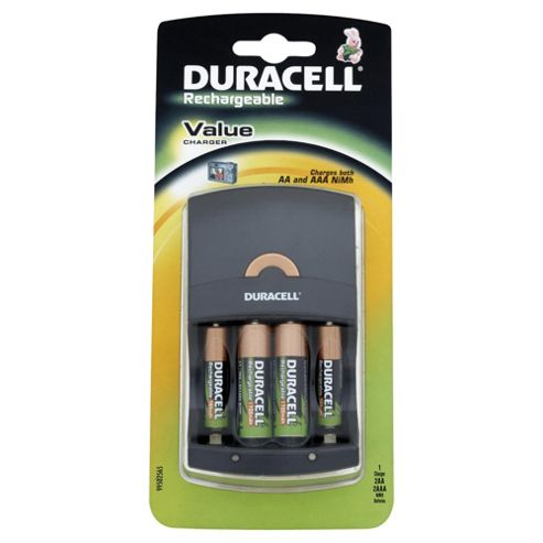 Duracell AA/AAA Value Battery Charger (Includes 4 Pack AA Rechargeable Batteries)
