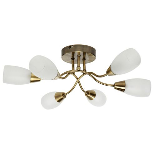 Tesco Lighting 6 Way Glass Ceiling Fitting, Antique Brass