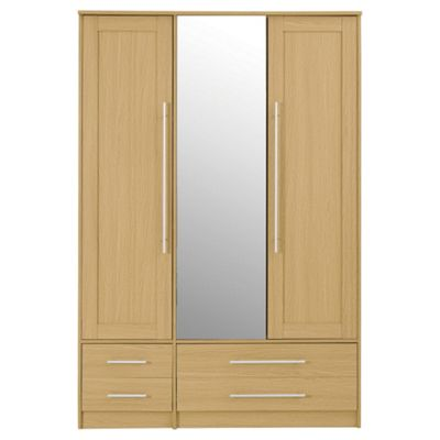 Kendal Triple Wardrobe with 2 Drawers, Oak Effect