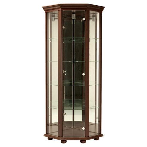 Henley 1 Door Corner Display Cabinet, Wenge-effect