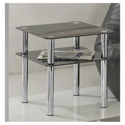 Atom Chrome & Glass Side Table With Shelf, Black