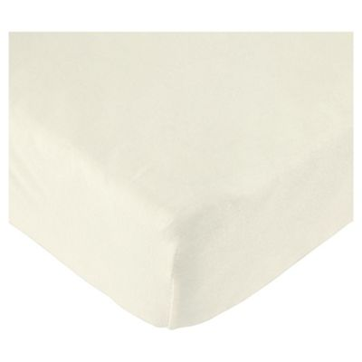 Tesco Loves Baby Fitted Jersey Cot Sheet, Cream