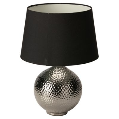 Tesco Lighting Punched Table Lamp Black Chrome
