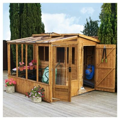 Mercia Wooden Combi Greenhouse with installation, 8x8ft