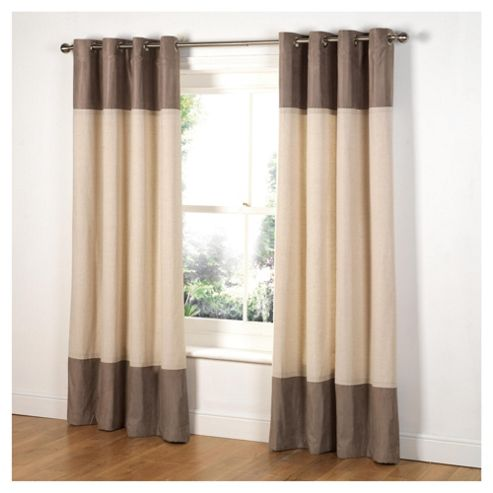 Tesco Linen & Faux Suede Lined Eyelet Curtains W168xL183cm (66x72