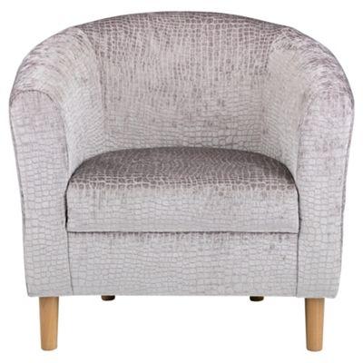 Tub Chair Velvet Effect Silver