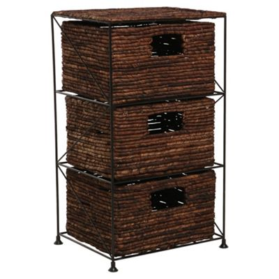 Dyed Banana Leaf 3 Drawer Tower