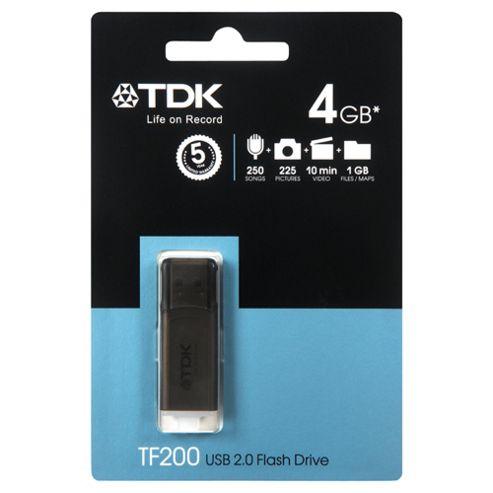 TDK C-TRU TF200 USB Flash Drive, Black - 4GB